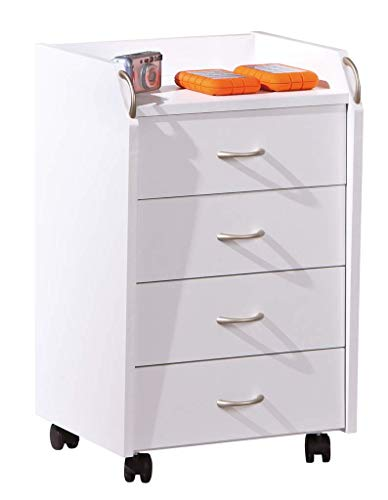 Interlink Rollcontainer PRONTI mit 4 Schubladen Weiß