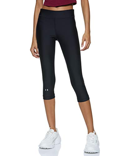 Under Armour Damen HeatGear Armour Capri Sporthose, Schwarz (Black/Black/Metallic Silver (001)), Medium, 1309652