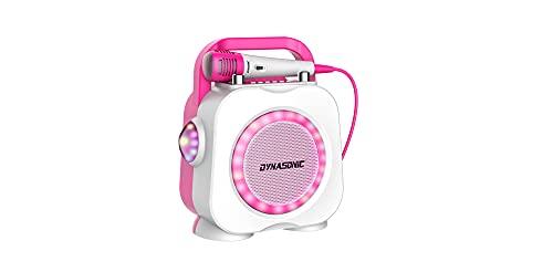 DYNASONIC Karaoke con microfono, Regalos Originales para niños niña, Altavoz, Juguetes niña 4-13 años (DK-201 Rosa)