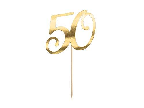 PartyDeco Verjaardagsstaart topper - topper 50e verjaardagsfeestje met het nummer 50 in goud - goud hoogte ca. 20,5 cm 1 stuk taart decoratie cupcake topper voor verjaardag jubileum ronde verjaardag