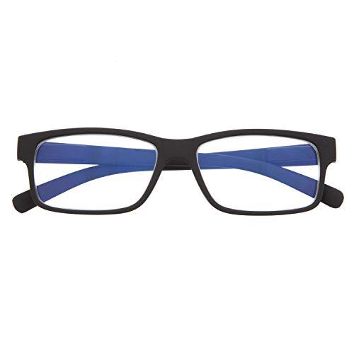 DIDINSKY Blaulichtfilter Brille für Damen und Herren. Blaufilter Brille mit stärke oder ohne sehstärke für Gaming oder Pc. Gummi-Touch-Tempel und Blendschutzgläser. Graphite +1.5 – THYSSEN