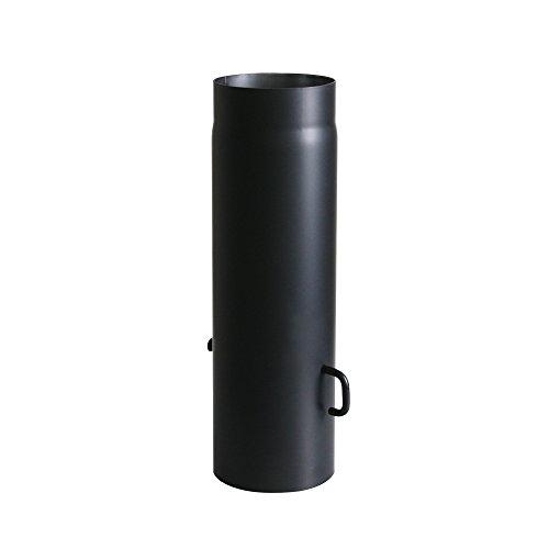 Kamino-Flam Tuyau de Poêle avec Clé de Tirage Ø 150 mm, Tube Droit Longueur 500 mm en Acier Laqué Senotherm Résistant, Conduit de Cheminée avec Régulateur de Tirage, Noir