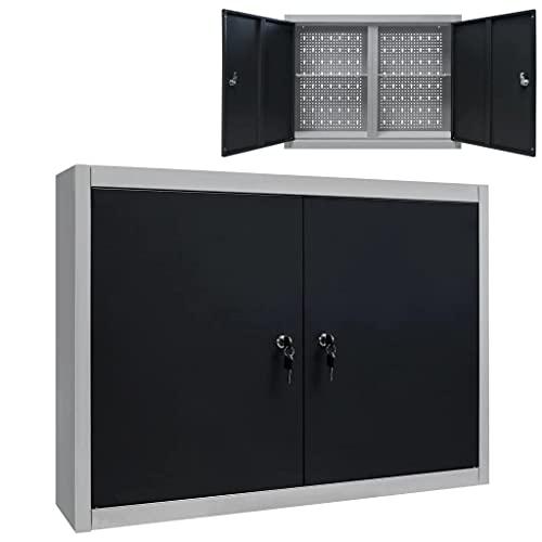 vidaXL Werkzeugschrank Wandmontage Industriell mit 2 Fachböden Lochwand Hängeschrank Metallschrank...