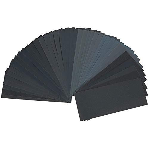 42 Stück Schleifpapier Set,Körnung von 120 bis 3000,Trocken/Nass für Schleifen,Schleifpapier Zum Polieren von Metall Holz Autos,9 x 3,6 Zoll