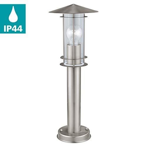 EGLO Außen-Wegelampe Lisio, 1 flammige Außenleuchte, Wegeleuchte aus Edelstahl, Farbe: Silber, Glas: klar, Fassung: E27, IP44