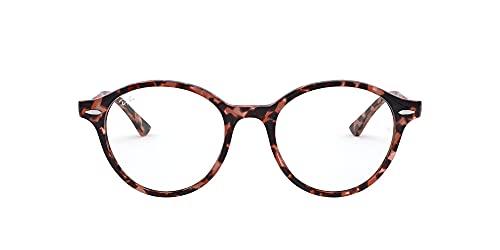Ray-Ban Rx7118 Dean - Marcos de gafas recetadas redondas, Lente rosa Havana/Demo, 50 mm