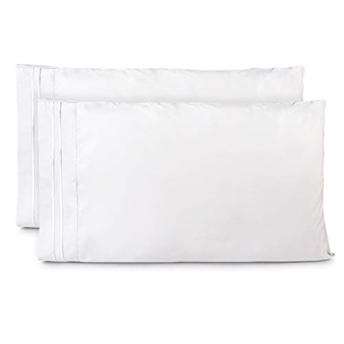 Cosy House Collection Pillowcases King Size - White Luxury Pillow Case Set of 2 - Premium Super Soft Hotel Quality Pillow Protector Cover - Cool & Wrinkle Free - Hypoallergenic