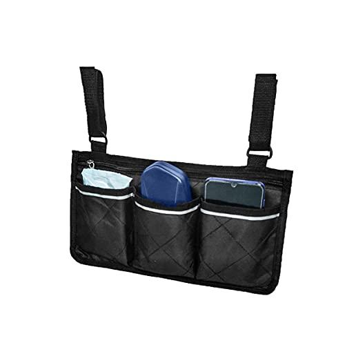 Bolsa de almacenamiento para reposabrazos laterales para silla de ruedas, diseño de cierre de gancho y bucle, bolsa de almacenamiento con varios bolsillos, bolsa de ayuda para caminar