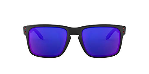 Oakley Men's OO9102 Holbrook Square Sunglasses, Matte Black/Positive Red Iridium, 57 mm