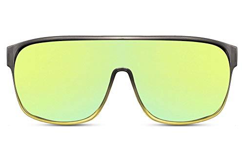 Cheapass Gafas de sol Big XL Protección Gafas con Montura Gris a Amarillo Transparentee y Lentes Espejadas Cool Hombres Mujeres