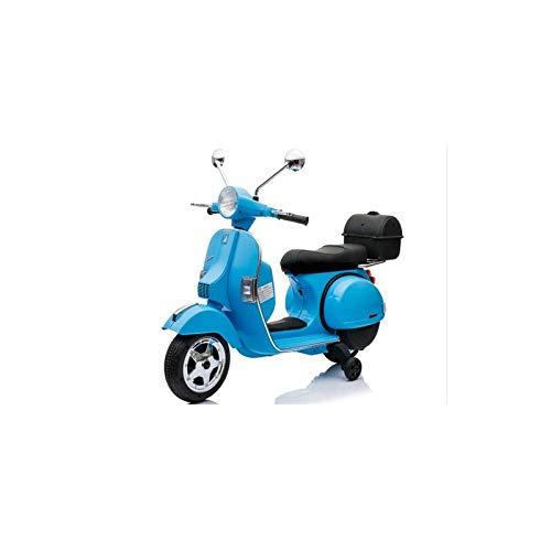 ATAA CARS Vespa clásica Oficial 12v Licencia Piaggio - Azul - Moto eléctrica para niños hasta 7 años. Batería 12v Coche eléctrico niños