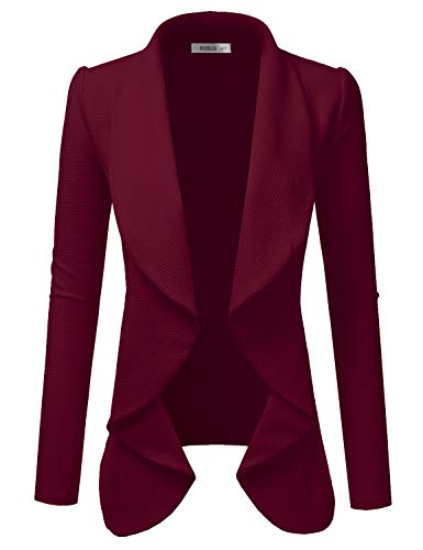 Doublju Classic Draped Open Front Blazer for Women with Plus Size Burgundy Large