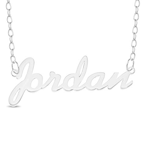 JORDAN Name Necklace 925 Sterling Silver Trace Chain Pendant Gift + Pouch (14)