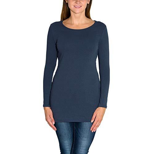 Alkato Damen Langarm Longshirt Tunika Basic Shirt, Farbe: Jeans, Größe: S