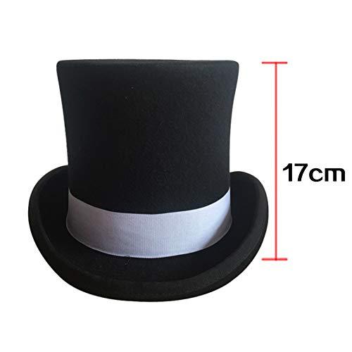 CHENGWJ Fedoras Cap mannen wolvilt cilinder met grijze grosgrain/Victoriaanse steampunk hoed/cilinder hoed/kachelpijp hoed/topper cilinder