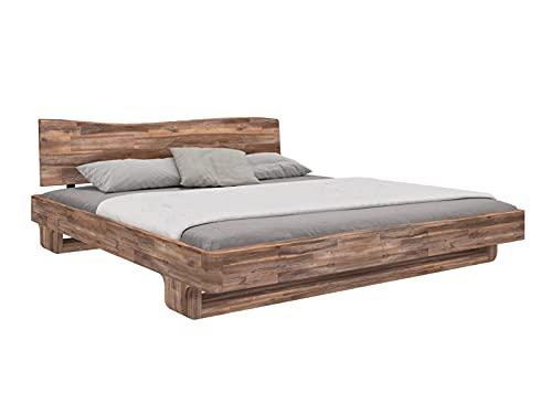Woodkings® Holzbett Sendai 140x200 Akazie Rustic Holz rustikal Schlafzimmer Möbel massiv Design Doppelbett Ehebett Balkenbett Echtholzmöbel