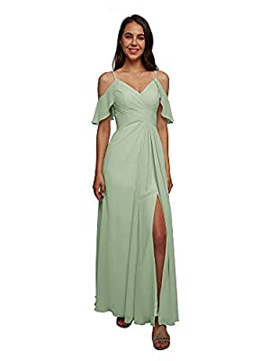 AW BRIDAL Cold Shoulder Chiffon Long Dusty Sage Green Bridesmaid Dresses Plus Size Formal Dresses for Women Party Wedding Prom,US10