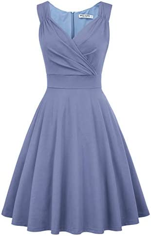 Women s Vintage V Neck Sleeveless Evening Dress Size L Blue Gray CL698 12 product image