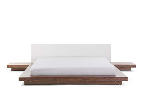 Cama Estilo japonés - Cabecera de Piel - con mesitas de Noche - Somier Incluido - Marrón Claro- 180x200 cm - Zen