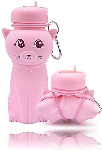 Borraccia silicone, disegno gatto rosa, pieghevole, molto resistente, senza BPA, 500 ml