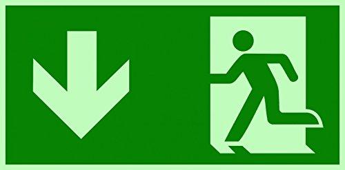 Fluchtweg/Notausgang Rettungsweg Symbol unten ISO Folie lang nachleuchtend & selbstklebend 300x150 mm Orig. ANDRIS®