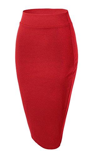 Urban GoCo Mujeres Falda Midi Lápiz Cintura Alta Elasticidad Bodycon Tubo Falda Oficina Rojo L