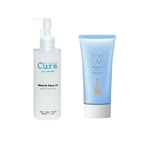 Cure Natural Aqua Gel 250ml - Best selling exfoliator in Japan! & Biore Sarasara Uv Aqua Rich Waterly Essence Sunscreen 50g Spf50+ Pa+++ for Face and Body for a set - special offer