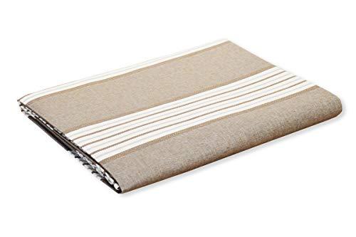 R.P. Sprei Miros gestreept Marine Style van draad – natuurlijk katoen 100% Made in Italy – afmetingen Frans type Ikea – bruin