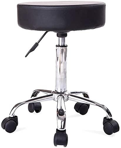 JYHJ Taburete de bar a prueba de explosiones Taburete redondo de belleza, fisioterapia, masaje de uñas, silla de peluquería de 360 ° rotación (3 colores) (color: blanco) (color: negro)