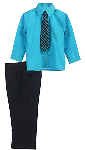 B-One Kids Boys' Formal Dress Pants Set with Shirt and Tie (10, Black/Turquoise)