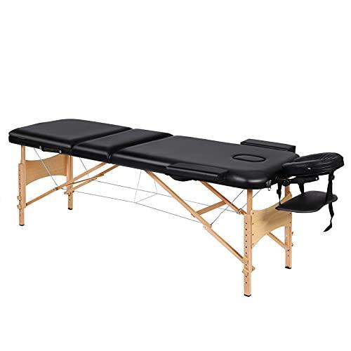 Camilla de masaje, spa, cama de masaje, 3 secciones, patas de madera ajustables, fácil instalación, reposacabezas ergonómico, con bolsa de transporte, para el cuidado del rostro