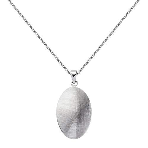 Perlkönig | Damen Frauen | Kette mit Anhänger | Silber Gebürstet | Oval mit Kratzern | Nickelabgabefrei