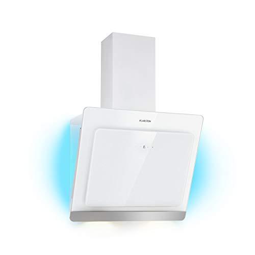 KLARSTEIN Aurora Eco - Campana extractora, 550 m³/h, Bajo Consumo, Eco Excellence, Display LED, Balanced Light Concept, 3 Niveles, Diseño Compacto, Clase fluidodinámica A++, Blanco