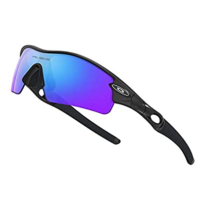 WOOLIKE Sports Sunglasses Driving Glasses Shades for Men Women TR90 Unbreakable Frame for Cycling Baseball 805 (Black&Black&Ice Blue Lens-Upgrade)