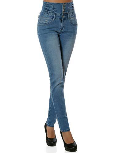 Daleus Damen High-Waist Jeanshose Skinny Jeans Stretch DA 16033 Farbe Blau Größe S / 36