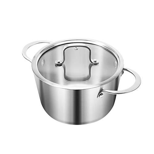 ZRL Olla Pastilla de salteada de Cacerola Mini con Tapa de Olla de Cocina de Acero Inoxidable Incluye Tapa de Vidrio Templado Lavavajillas Caja Fuerte Inducción (Color : Metallic)