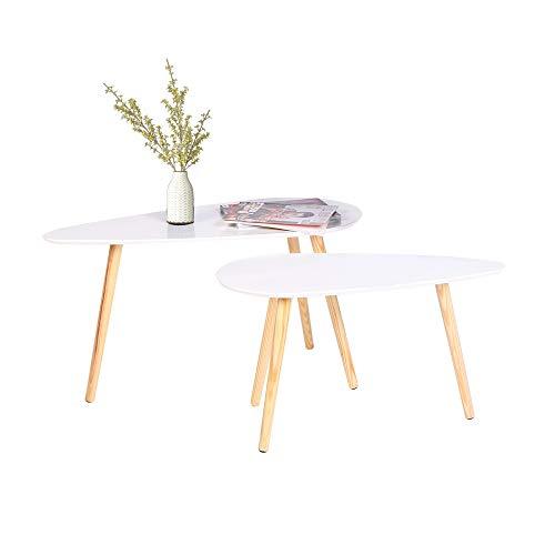 2 x table basse de café , table d'appoint Blanc, bois Blanc rond table basse table de café