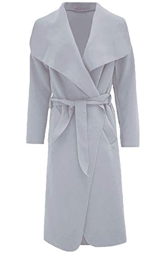 Islander Fashions Womens Trench Waterfall italienischen Duster Mantel Damen Franz�sisch Belted Long Jacket Light Grey 2 X gro�