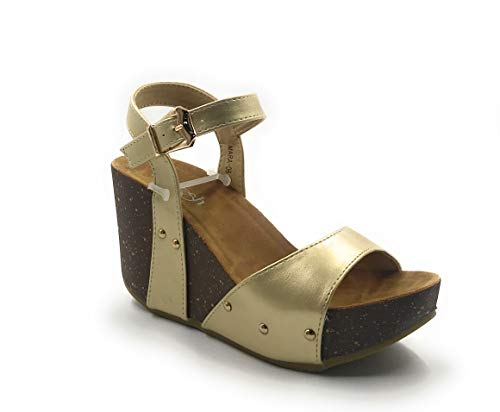 REFRESH Mara-06 Womens Ankle Strap Platform Wedge Sandals Tan 8.5