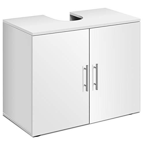 COSTWAY Mueble Bajo Lavabo para Baño con Estante y 2 Puertas Armarios de Suelo para Baño de Madera 68,5x35,5x58,5 centímetros Blanco
