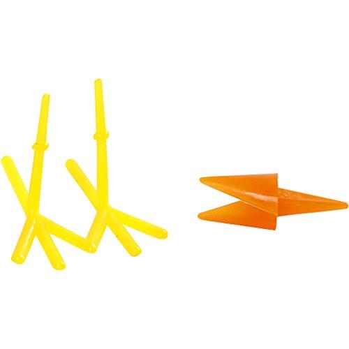 Lot de 8 becs et pieds de poulet - L : 30 + 37 mm - H : 28 mm - Jaune/orange