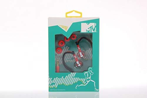 2 Stück Original MTV Sportkopfhörer (1x schwarz-rot, 1x türkis gelb) - verstellbare Ohrbügel - 10 mm- Klinkenanschluss - 20-20.000 Hz - 32 Ohm