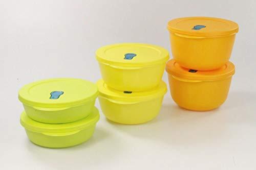 Tupperware, forno a microonde CrystalWave 2,0 l (2) arancione + 1,5 l giallo (2) + 1,0 l limette (2)