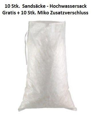 10 Hochwasser Sandsäcke / PP - Bändchengewebesäcke 40 x 60 cm + 10 Stk. Miko Zusatzverschluss