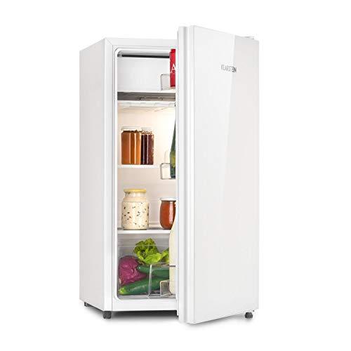 Klarstein Luminance Frost Nevera - Mininevera, Volumen 91 litros, Eficiencia de tipo F, Cajón para verdura, 2 baldas de vidrio, 3 compartimentos en la puerta, 7 niveles de temperatura, Blanco
