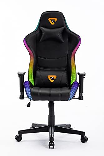 Silla Gaming RGB. Silla Escritorio con Luces LED. Silla butaca Gaming RGB. Sillon Gamer, computadora con Luces LED (Logo LC Naranja RGB)
