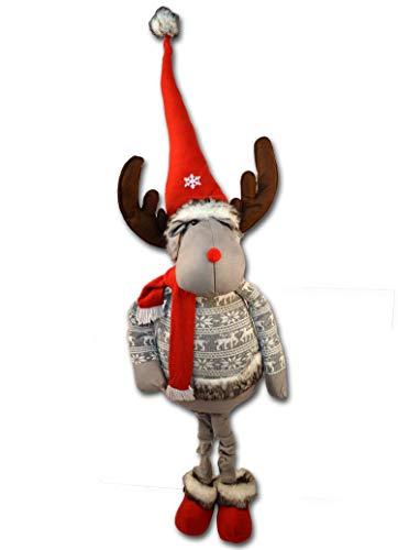Centesimo Web Shop Fermaporta Arredo Pupazzo Natalizio Maxi Gigante Alto in 2 Misure Natale Addobbo Decoro Renna Natalizia - Grigio - 150 cm
