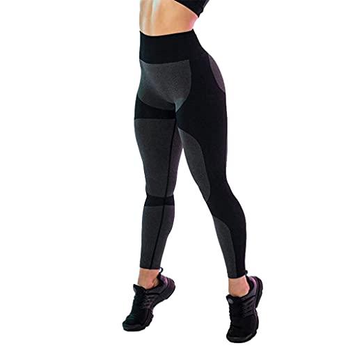 YUDIZWS Mallas de yoga para levantamiento de glúteos de cintura alta, para mujer, control de barriga, deporte, con textura, sexy, para gimnasio, color negro, talla pequeña)