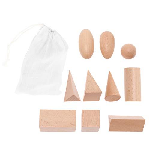 NUOBESTY Holz Geometrie fest Montessori Spielzeug Tote lagerung Geometrie Set Mathe Spiele Spielzeug geo blöcke für Handwerk DIY projekte Kinder pädagogisches Spielzeug 11 STK