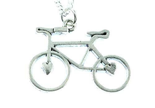 Miniblings Fahrrad Kette Halskette 45cm Rad Rennrad Fahrradkette versilbert Herz - Handmade Modeschmuck - Gliederkette versilbert
